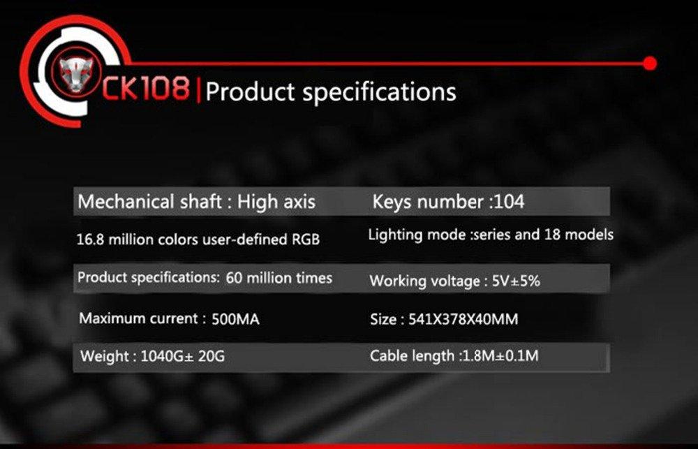 Tastatura Mecanica RGB Motospeed CK108 7